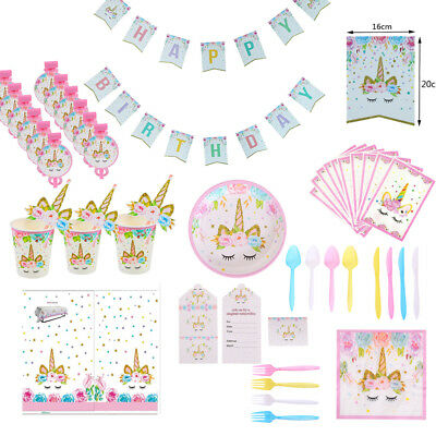 Flower Unicorn Girls Birthday Party Supplies Baby Shower Pink Magical Tableware