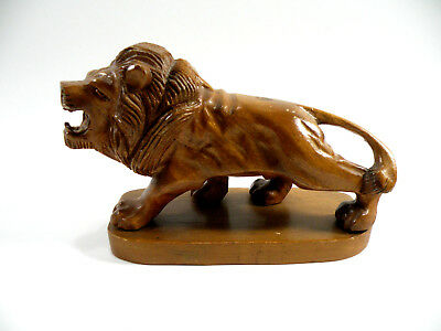 Vintage Hand Carved African Wooden Lion