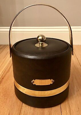 Signed Georges Briard Brown Leather & Brass Ice Bucket, Excellent Condition