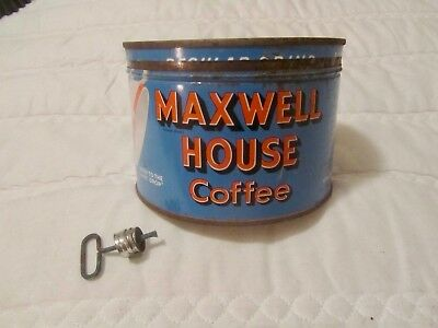 VTG Maxwell House Coffee Can w/ Lid & Opening Key Collectible Advertising Tin @@