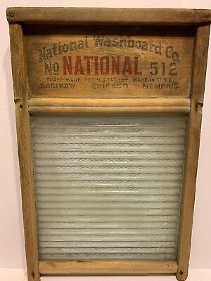 Vintage National Washboard Company Glass Board With Wood Frame 512