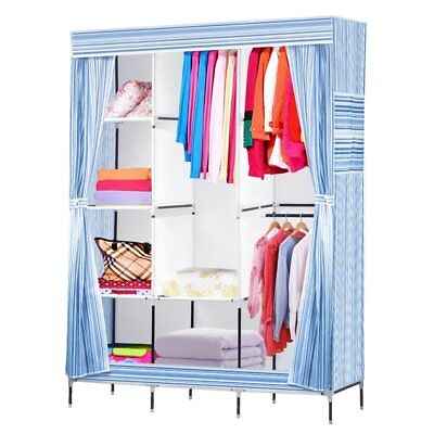 Sky Blue Non-woven Fabric Clothes Closet Closet Organizer Durable Wardrobe