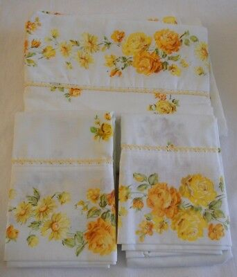 Vintage Fashion Manor Yellow Floral 2 Pillowcases & Top Sheet 80 by 106 unused