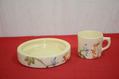 Weller Pottery Molded Children's Dish & Cup Set Zona Bird & Rabbit #1809