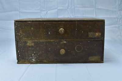 Antique COUNTRY STORE OAK 2 DRAWER COUNTER TOP DISPLAY CABINET DIVIDED #06597