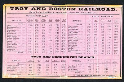 TROY & BOSTON RR c1870 TIMETABLE-NR