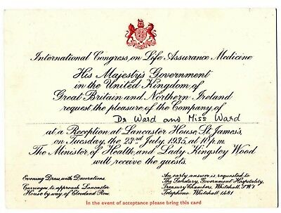 1935 His Majesty's Government Invitation to Int'l Cong on Life Assurance Med.