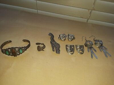 Sterling silver Jewelry Lot Mexico 925 MAISELS Bracelet Hard Rock ring vintage