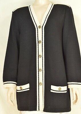 St John Marie Gray jacket blazer M santana knit black cream trim epaulettes USA