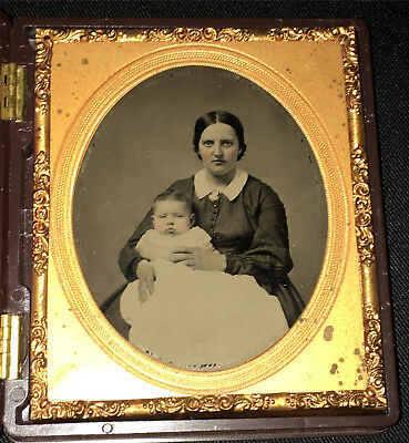 1/6 Plate Ambrotype Thermoplastic Union Case - Woman & Baby Tinted Post Mortem ?