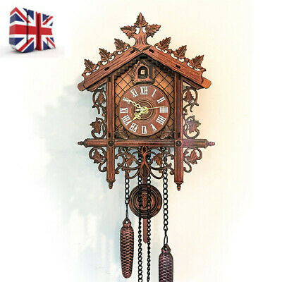 Handcraft Wooden Cuckoo Bird Clock House Style Wall Clock Vintage Home Decor UK