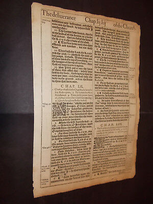 1611 King James Bible Leaf-Folio- Isaiah 53-The Crucifixion of Christ-WOW!!