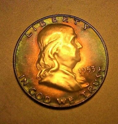 1953 FRANKLIN HALF 50 GEM BU MS UNC TONED Red Blue Rainbow Peacock Toning