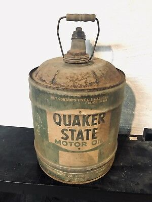 Rare Early Vintage Quaker State 5 Gallon Motor Oil Can Nice Shape