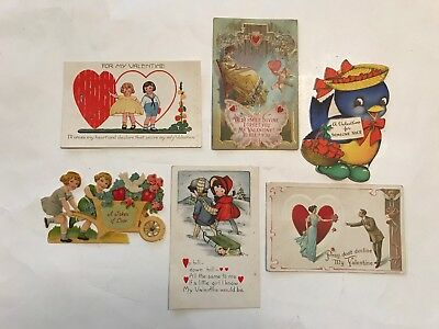 6 Vintage Antique Postcards & Valentines w/ 1916 Stamp ~  Early 1900's -1940's
