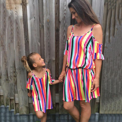 6c2f181673 Fashion Women Mother Daughter Matching Dresses Summer Girl Dress Clothes  Outfits