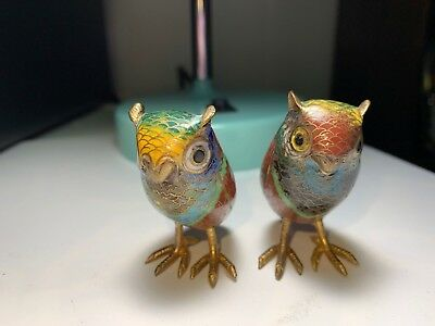 "Miniature Pair Cloisonne Enamel Owls 2"" tall w/ brass talons and beaks FREE SHIP"