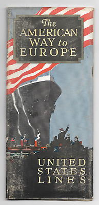 1924 UNITED STATES LINES The American Way To Europe Brochure * PHOTOS Map Cabins