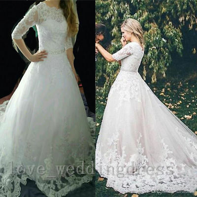 Vintage Half Sleeves Wedding Dresses Formal Long Lace Applique Bridal Ball Gowns