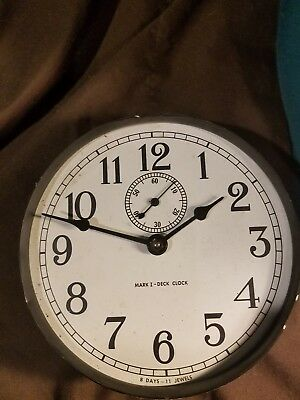 1943 Seth Thomas U. S. Navy Mark I- Deck Clock Ships clock, 8 days, 11 Jewels 6""
