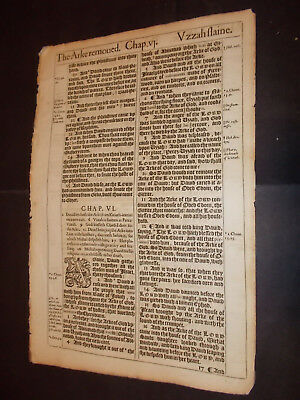 1611 King James Bible Leaf-Folio-David Dances before the ARK!!-Michal Childless