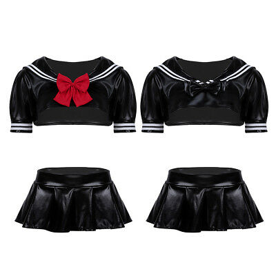 Women's PU Leather School Girl Uniform Costume Dress Outfit Crop Top Mini Skirts