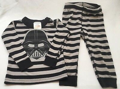 """Hanna Andersson Toddler Boy Pajamas Gray Stripes """"Darth Vader"""" Size 18-24 Months"""