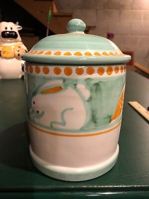 """Solimene Vietri Green Rabbit 8"""" Tall Lidded Canister Hand Painted Pottery"""