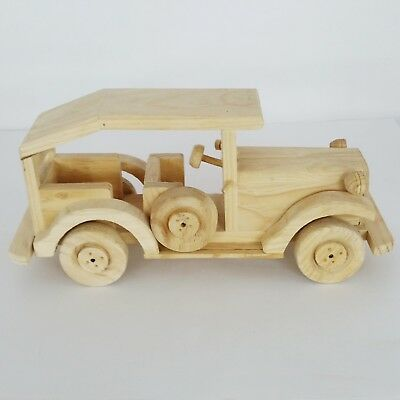 "Mexican Handmade Antique Classic Wood Car Natural Color 12""x 6"" Model Toy Decor"