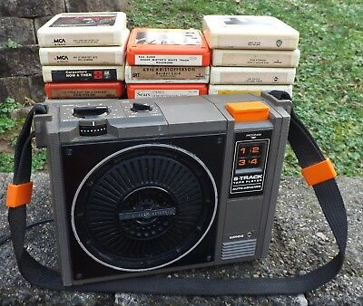 GE Model 3-5505F Portable 8-Track Tape Player w/ 35 8-Track Tapes