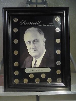 Roosevelt Silver Dime Collection 1946-1964 - In Acrylic Frame Wall/Easel Display