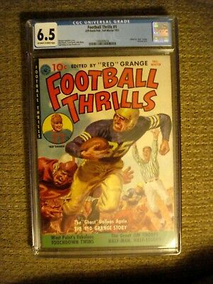 Football Thrills #1 CGC 6.5 FN+ edited by Red Grange painted cover