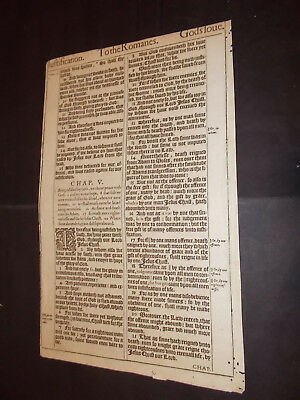 1611 King James Bible Leaf-Folio-Romans-For All Have Sinned-But God Commendeth..
