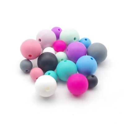 20x Baby Silicone Teething Necklace Nursing Teether Round Bead BPA Free Hot Pop