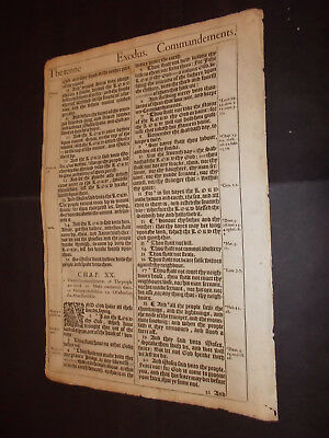 1611 King James Bible Leaf-Folio-EXODUS 20-THE 10 COMMANDMENTS!!!-Mount Sinai!!!