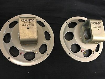 """Pair of Vintage 1960's Alnico Realistic Woofers/speakers 8"""" - 8 Ohm++"""