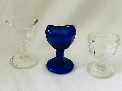 Antique LOT of 3 Glass Eye Wash Cups - Two Clear and One Cobalt Blue