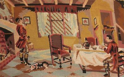 """Vintage completed cotton needlepoint tapestry in the Fox hunting lodge 26.8""""x16"""""""