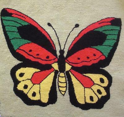 """vintage wool needlepoint PARAGON butterfly completed tapestry 15""""x15"""""""