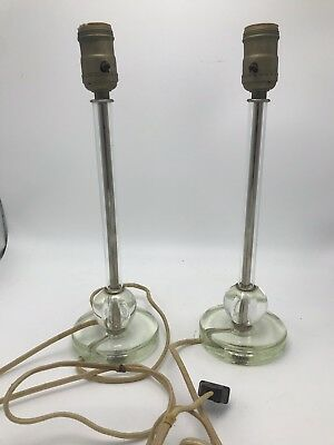 """Vintage Pair Glass Table Lamps 1930's - 40's 17"""" Clear Glass Antique"""