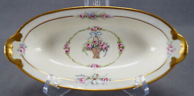 Pickard Hand Painted Marie Antoinette Rose Basket Norman Pickle / Relish Dish