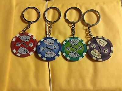 Poker Chip 'LUCKY' Keychains, set of 4 different colors, NEW....nice lot, start