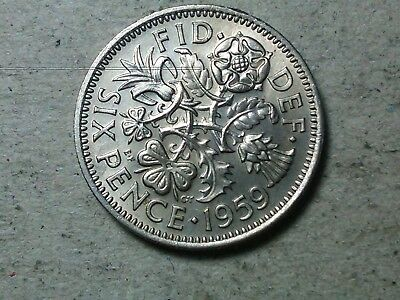 Great Britain 6 pence sixpence 1959 young queen Wedding gift coin . high grade