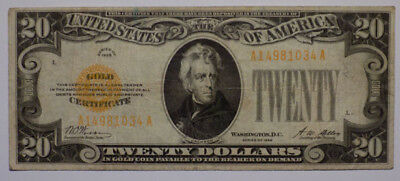 Series 1928 $20 Gold Certificate Nice Fine to Very Fine