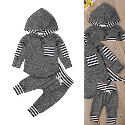 Infant Kid Baby Boy Girl Unisex Clothes Warm Hooded Sweatshirt+Pants Outfits Set