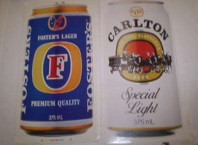 TWO  old beer advertising stickers   Carlton and Fosters (25 cms high)