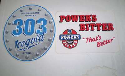 TWO  old beer advertising stickers   Powers and  303 IceGold