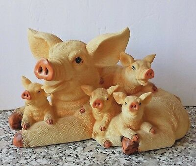 Happy Piggy Family Smiling Mama Sow Pig with Piglets Babies Large Resin Figurine