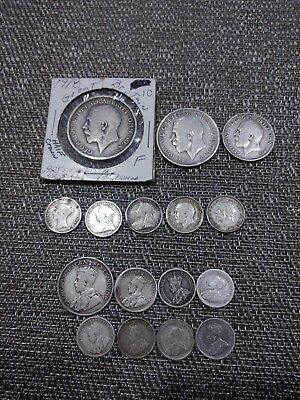Silver Canadian and British Coin Lot, mostly Sterling, some 1800's
