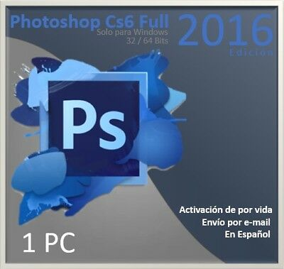 Licencia Photoshop Cs6 Full para windows 32/64 Bits - Nueva